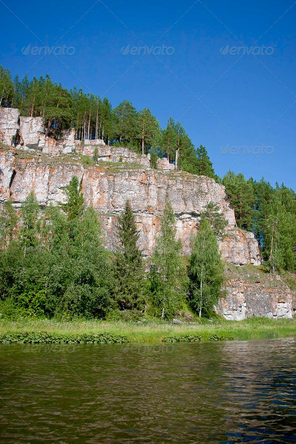 PhotoDune beautiful Ural nature on the river Chusovaya Perm edge 3665331