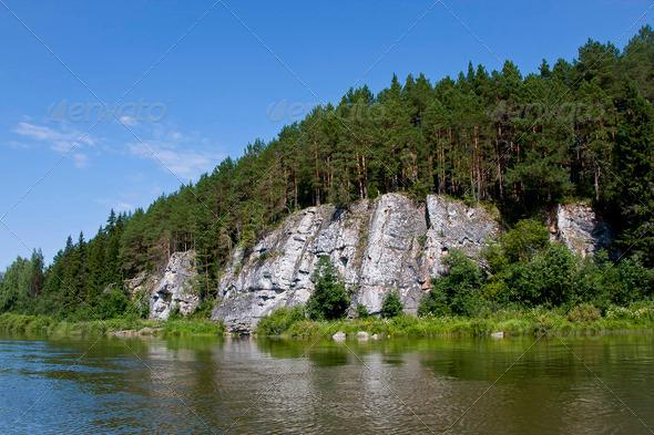 PhotoDune beautiful Ural nature on the river Chusovaya Perm edge 3665334
