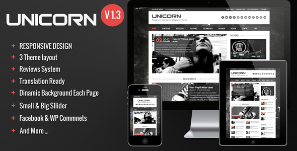 ThemeForest Unicorn Clean and Responsive Magazine Theme 3139708