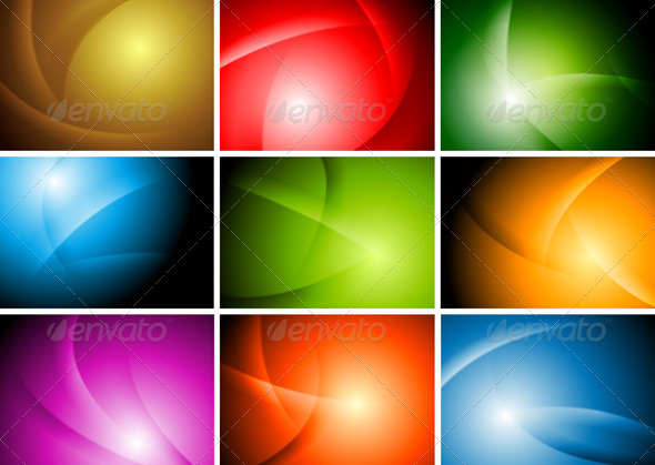 Bright Abstract Wavy Backgrounds Vector