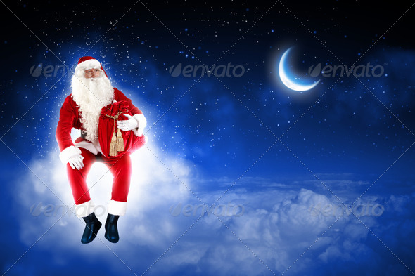 PhotoDune photo of santa claus sitting on the moon 3667992