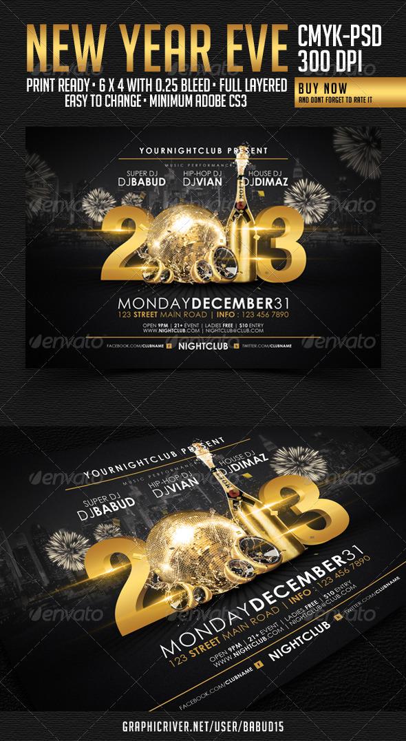 Flyer de Año Nuevo Horizontal