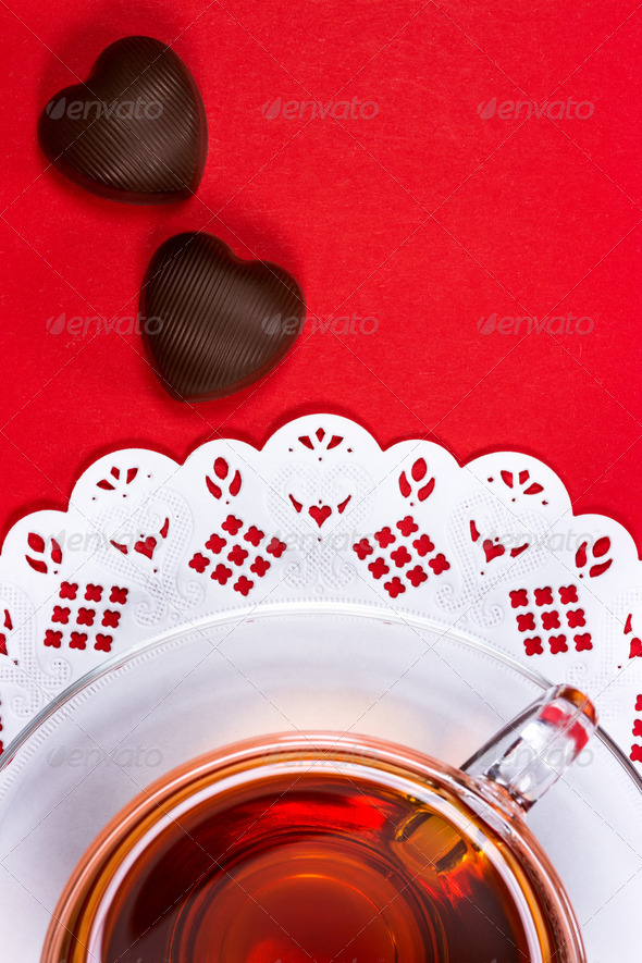 PhotoDune Tea cup and chocolate candy 3667729