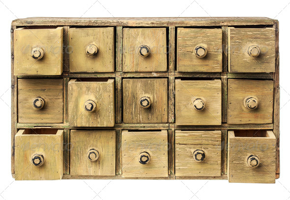 primitive drawer cabinet - Stock Photo - Images