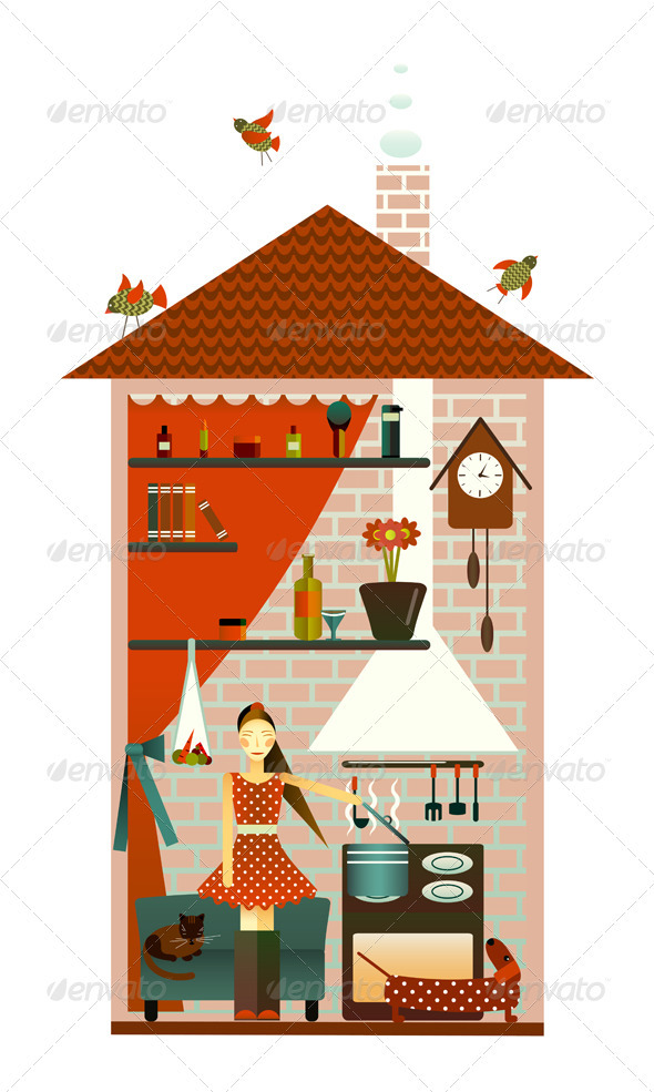 GraphicRiver Young Woman in the Kitchen 3668114