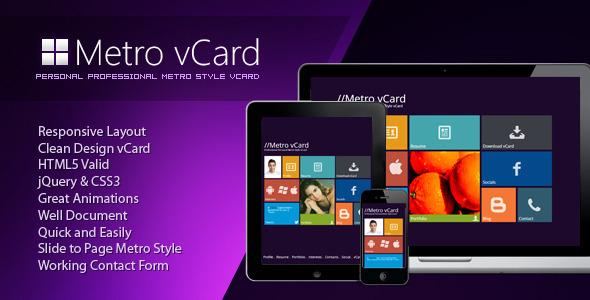 ThemeForest Metro vCard Responsive Metro Style vCard 3615080