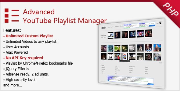 Розширений Youtube Playlist Manager - WorldWideScripts.net пункт для продажу