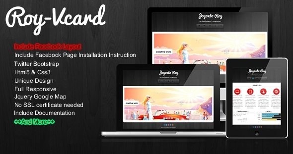 ThemeForest Roy Responsive Vcard With Facebook Layout 3529368