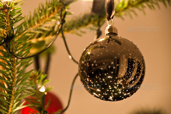 PhotoDune Christmas Balls Hanging From Christmas Tree 3668833