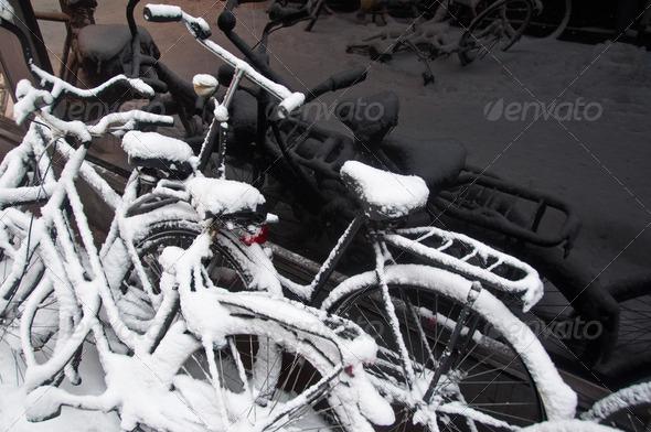 PhotoDune Bikes In The Snow 3668982