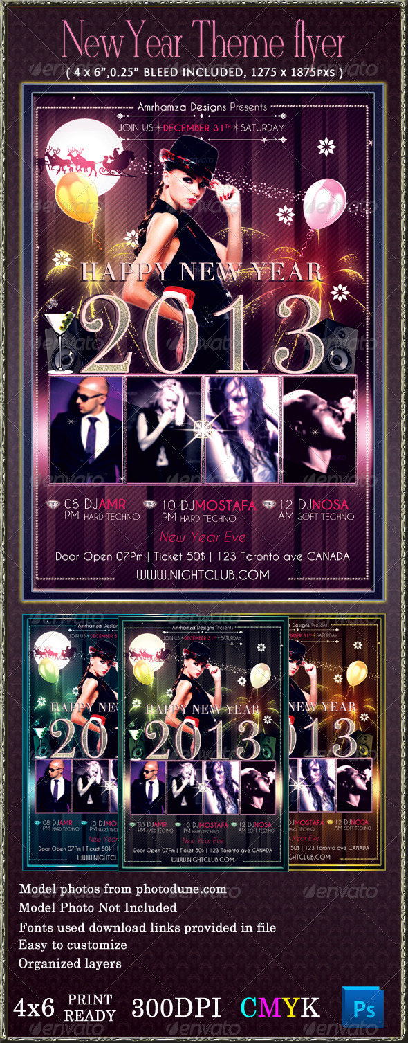 GraphicRiver New Year Night Club Event Flyer Template 3578441
