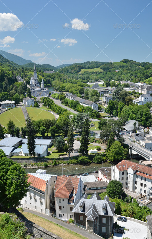 PhotoDune Summer view of Lourdes with the Rosary basilica 3669085