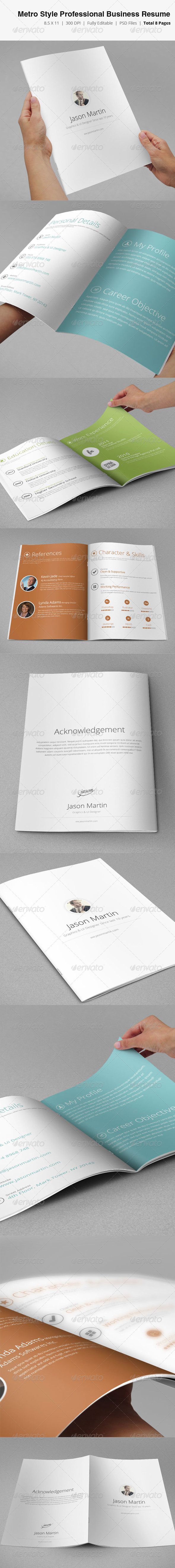 GraphicRiver Metro Style Professional Business Resume 3669174
