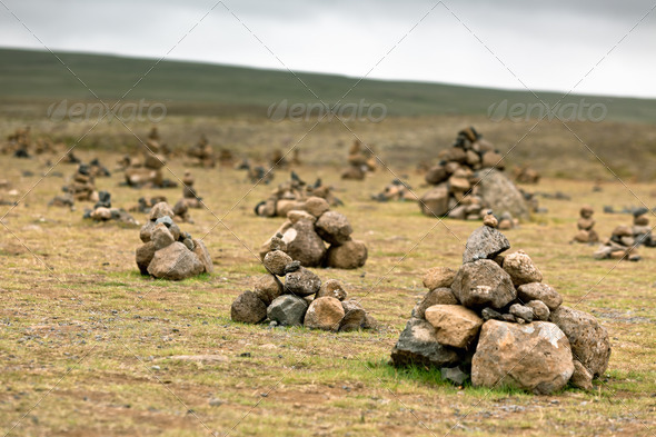 Pyramids from Stones, Iceland - Stock Photo - Images