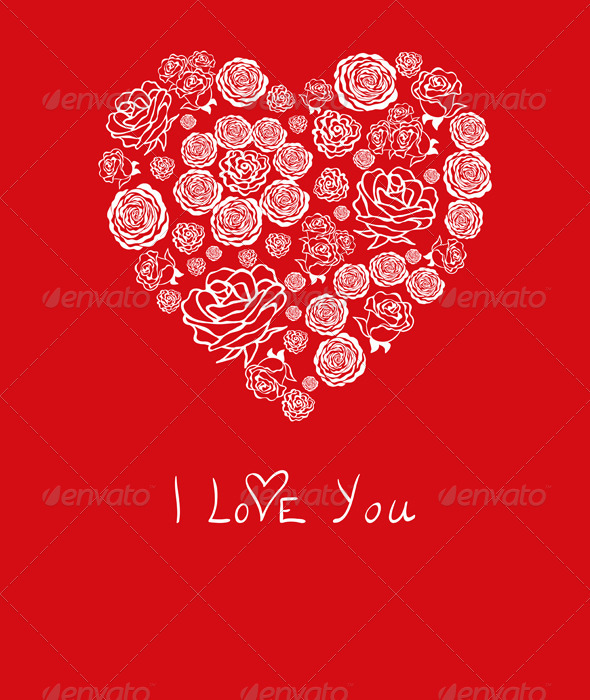 GraphicRiver Vector Red Valentine s Day Card with Flower Hearts 3670083