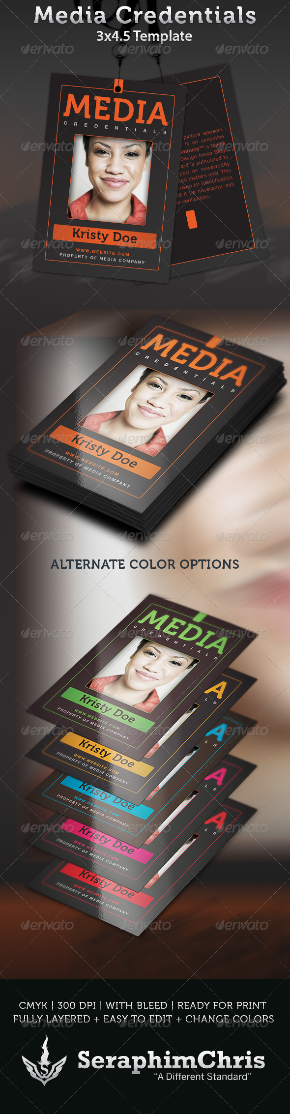Media Credentials Template - Miscellaneous Print Templates