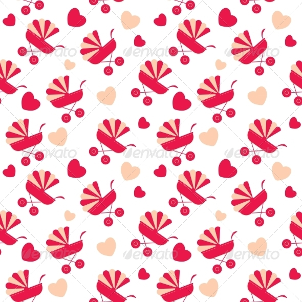 Seamless baby carriages pattern. vector background - Backgrounds Decorative