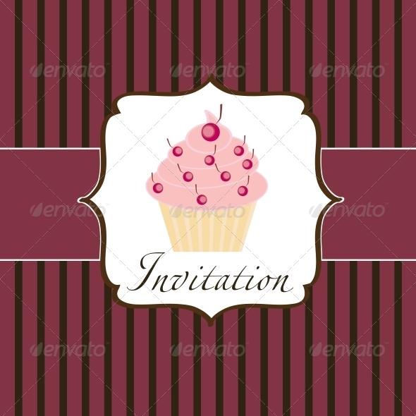 GraphicRiver Cupcake Invitation Background 3670783