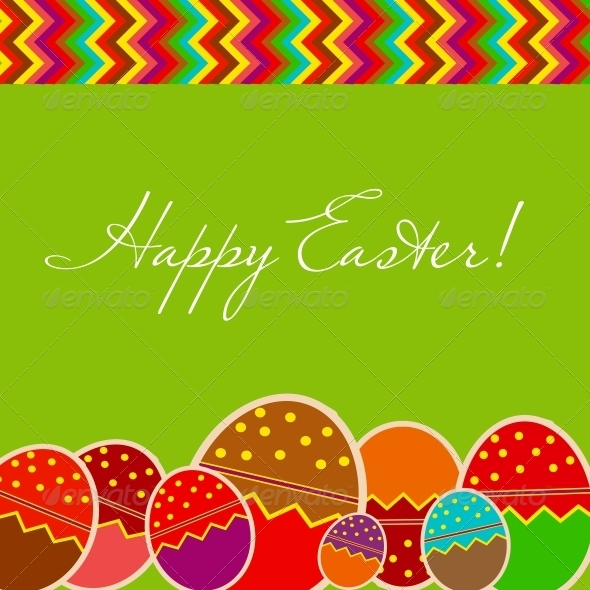 GraphicRiver Easter Eggs Card with Colourful Eggs 3670788