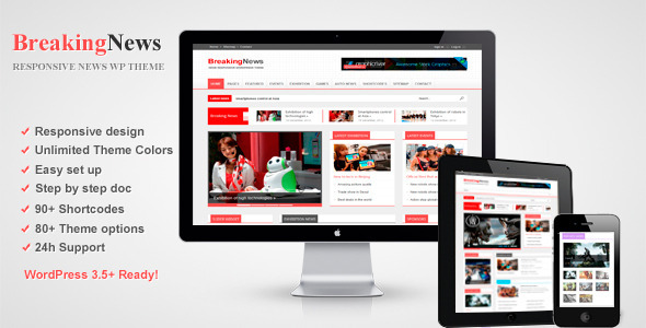 ThemeForest BreakingNews Responsive WordPress Theme 3672917
