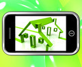 Houses On Smartphone Shows Houses Construction