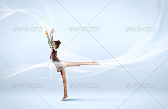 PhotoDune Young woman in gymnast suit posing 3674522