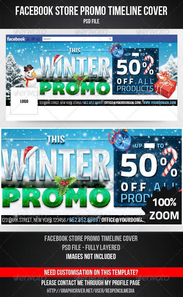 GraphicRiver FB Winter Promo Timeline Cover 3673756