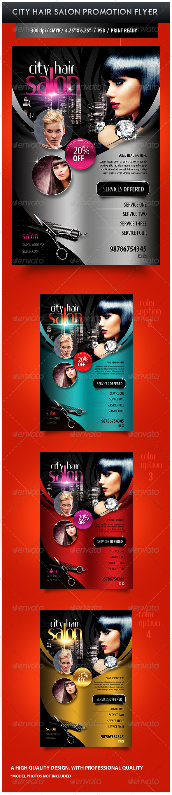 GraphicRiver City Hair Salon Promotional Flyer 3674308