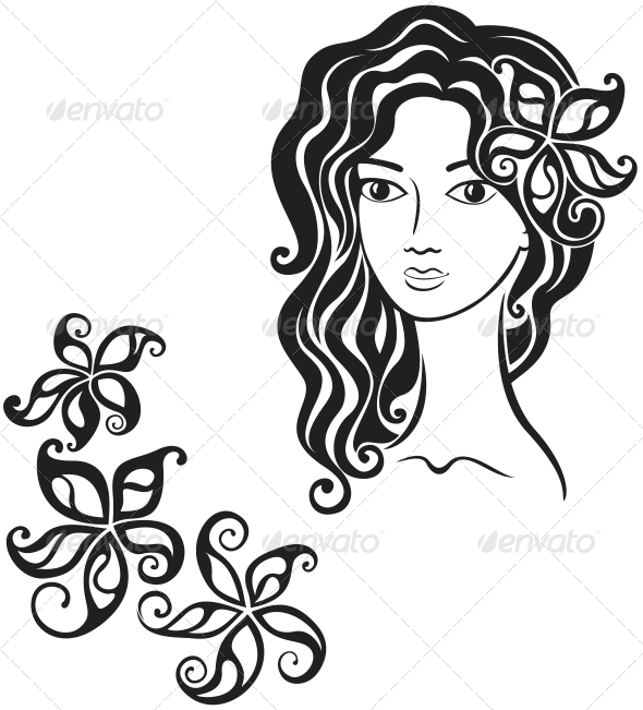 GraphicRiver Beautiful Girl with Flower in Her Hair 3674967