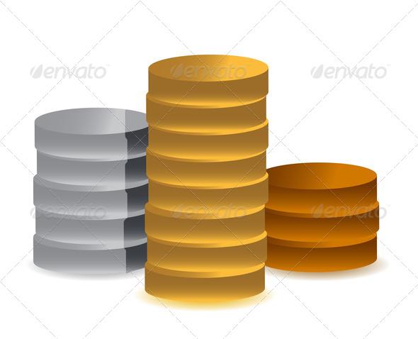 PhotoDune pile of coins podium 3675620