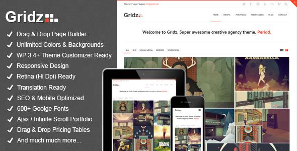 ThemeForest Gridz Creative Agency Retina Ready WP Theme 3675671