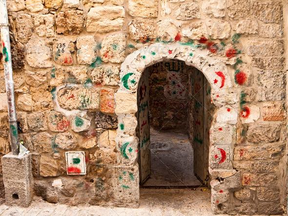 PhotoDune Door With Islamic Hajj Markings 3675761