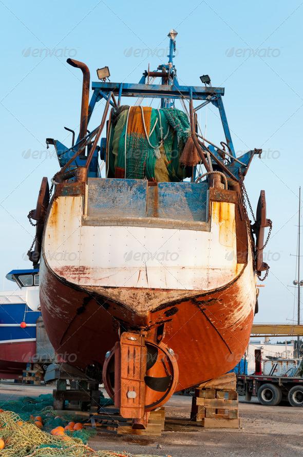 PhotoDune Fish trawler on land 3675812