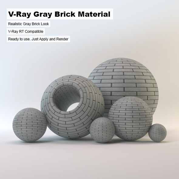 V-Ray Gray Brick Material - 3DOcean Item for Sale