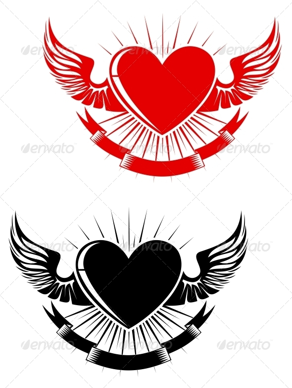 Retro Heart Tattoo - Tattoos Vectors