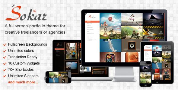 ThemeForest Sokar Responsive Fullscreen Portfolio WP Theme 3608495