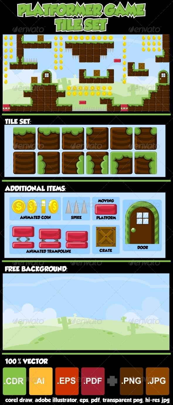 GraphicRiver Platformer Game Tile Set 3677579