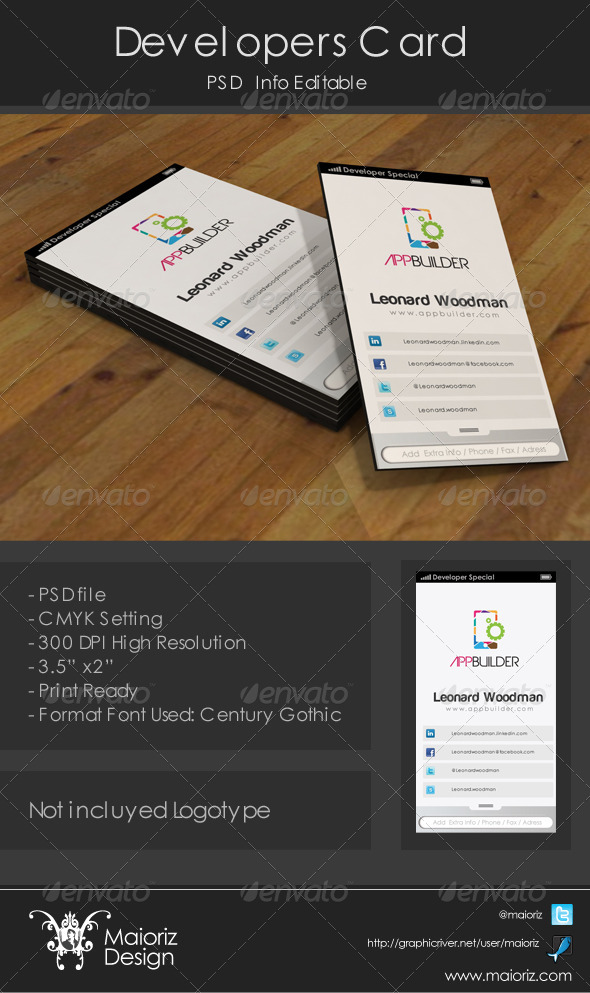 GraphicRiver Developer Business Card 3624327