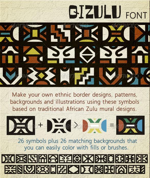 GraphicRiver Qizulu Africa Zulu Ethnic Symbols Font 3677704