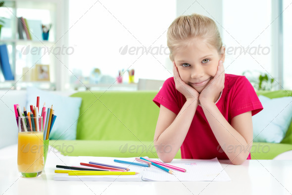 Smart schoolgirl - Stock Photo - Images
