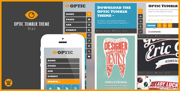 ThemeForest Optic Responsive Tumblr Theme 2784293