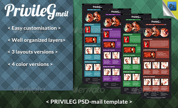 Privileg Mail PSD template - E-newsletters Web Elements