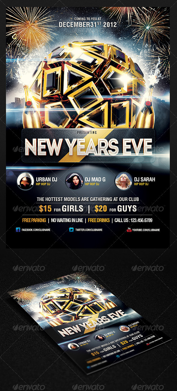 GraphicRiver 2013 New Years Eve Party Flyer Vol.3 3627262