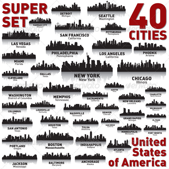 GraphicRiver Incredible City Skyline Set United States 3679194