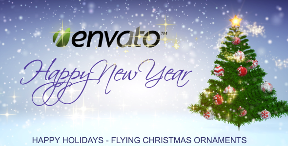 VideoHive Happy Holidays Flying Christmas Ornaments 3649670
