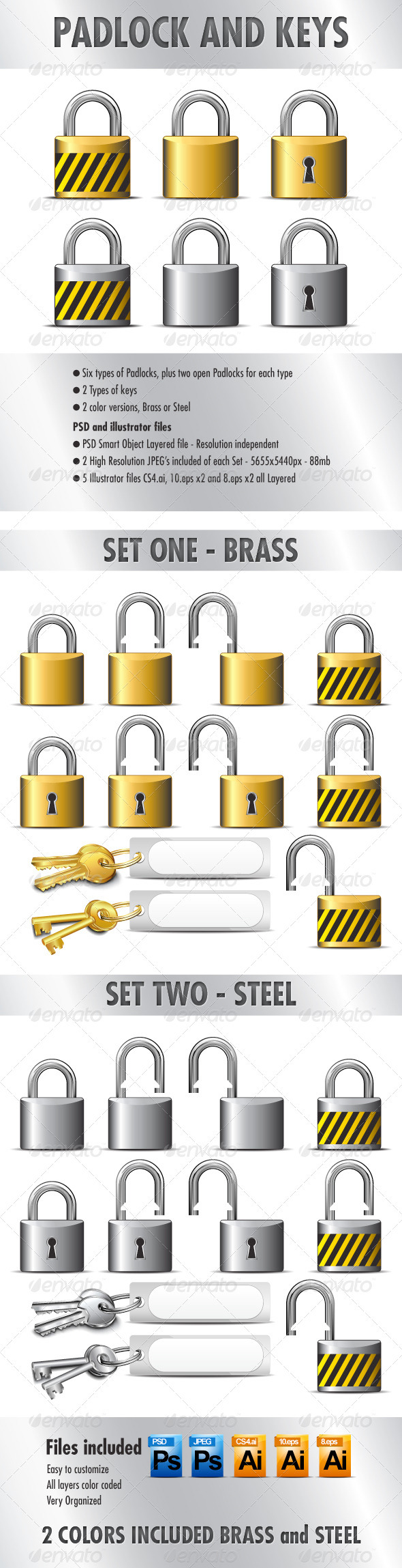 GraphicRiver Padlocks and Keys in Brass and Steel 3608439
