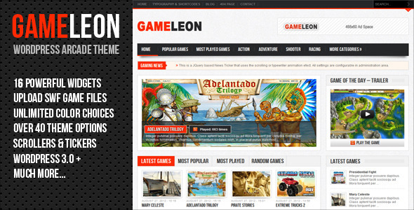 ThemeForest Gameleon WordPress Arcade Theme 3271091