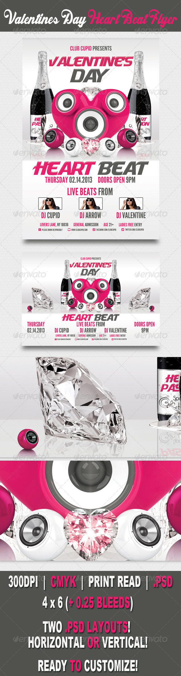 GraphicRiver Valentine s Day Heart Beat Flyer 3680473