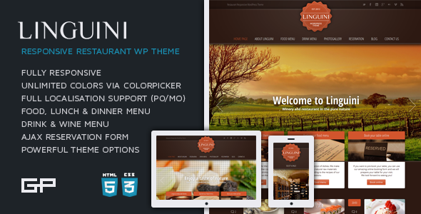 ThemeForest Linguini Restaurant Responsive WordPress Theme 1945015
