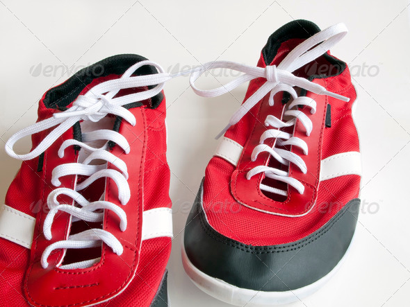 PhotoDune red shoes on white 3682208